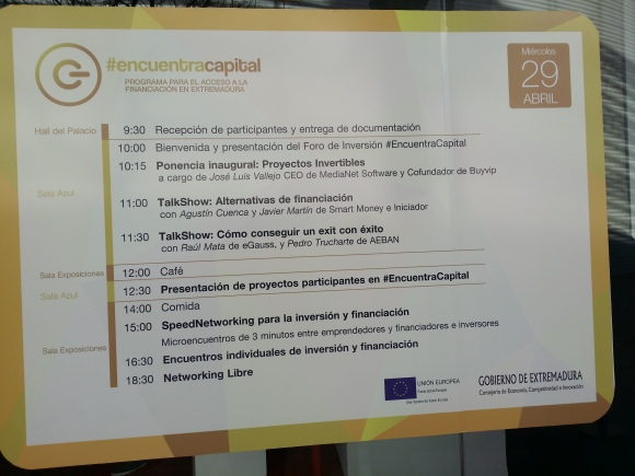Programa Jornada Encuentra Capital (Badajoz)